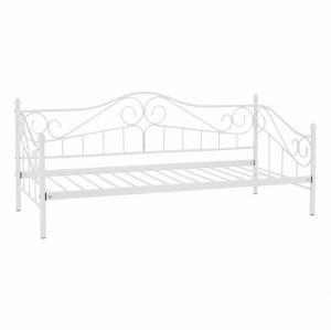 TEMPO KONDELA Kovová posteľ, biela, 90x200, DAINA