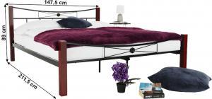 TEMPO KONDELA Kovová posteľ, drevo orech/čierny kov, 140x200, Paula