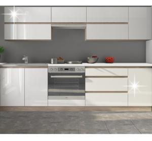KONDELA Line White 260 kuchyňa biela / dub sonoma