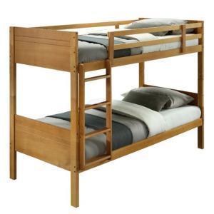 KONDELA Makira 90 drevená poschodová posteľ s roštami dub