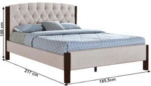 TEMPO KONDELA Manželská posteľ, piesková/tmavý orech, 180x200, ELENA NEW