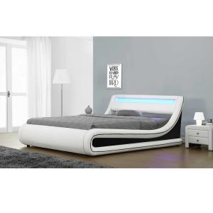 Manželská posteľ s RGB LED osvetlením, biela/čierna, 160x200, MANILA