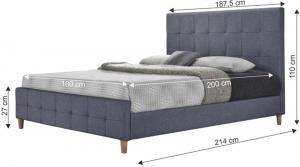 Manželská posteľ, sivá, 180x200, BALDER NEW