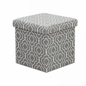 TEMPO KONDELA Marlo taburetka s úložným priestorom sivá / biely vzor