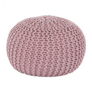 Kondela Pletený taburet, GOBI TYP 2, púdrová ružová bavlna