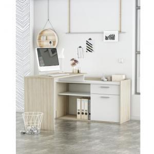 Rohový PC stôl, biela/dub shanon, NEVADIS