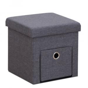TEMPO KONDELA Setin taburetka s úložným priestorom sivá