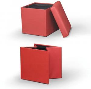 Tempo Kondela Skladací taburet, ekokoža červená, TELA NEW