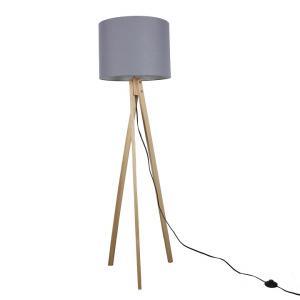 Tempo Kondela Stojacia lampa, sivá/prírodné drevo, LILA Typ 7 LS2062