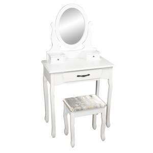 Tempo Kondela Toaletný stolík s taburetom, biela/strieborná, LINET NEW