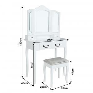 Tempo Kondela Toaletný stolík s taburetom, biela/strieborná, REGINA NEW