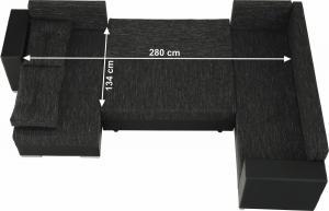 TEMPO KONDELA Univerzálna sedacia súprava, čierna/čierny melír, STILA