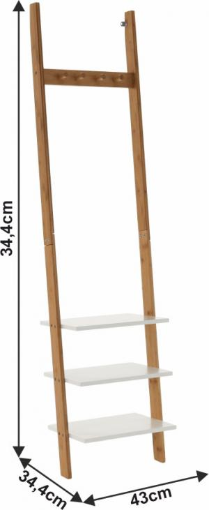 TEMPO KONDELA Vešiak s policami, biela/bambus, MARIKE TYP 1