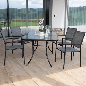 Tempo Kondela, Záhradná stohovateľná stolička, sivá/čierna, TELMA
