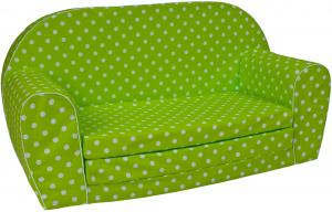 TEX-IM Rozkladacia detská pohovka MINI Vzor: Bílé tečky na zeleném