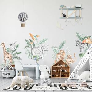 Textilná nálepka na stenu - SAFARI zvieratká z divočiny