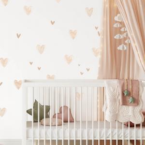 Textilné INSPIO nálepky - Béžové srdiečka do detskej izby