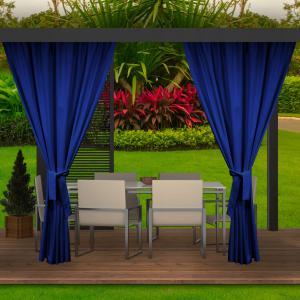 Tmavo modrý vodeodolný záves do záhradného altánku