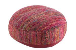 Tmavo ružový puf prešitý farebnými niťami - 54,5 * 50 * 24 cm
