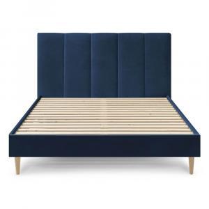 Tmavomodrá zamatová dvojlôžková posteľ Bobochic Paris Vivara Light, 180 x 200 cm