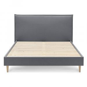 Tmavosivá dvojlôžková posteľ Bobochic Paris Sary Light, 160 x 200 cm