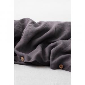 Tmavosivá ľanová obliečka na perinu Linen Tales, 140 x 200 cm