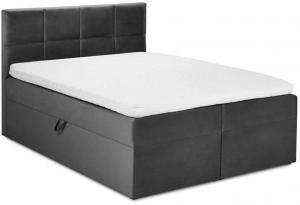 Tmavosivá zamatová dvojlôžková posteľ Mazzini Beds Mimicry, 200 x 200 cm