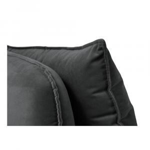 Tmavosivá zamatová leňoška s čiernymi nohami Kooko Home Lento, ľavý roh