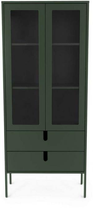 Tmavozelená vitrína Tenzo Uno, šírka 76 cm