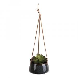 Tmavozelený keramický závesný kvetináč PT LIVING Unique, ø 20,5 cm