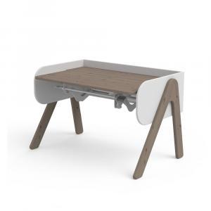 Tmavý hnedo-biely písací stôl z borovicového dreva s nastaviteľnou výškou Flexa Woody