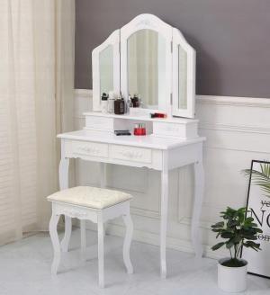 Toaletný stolík Elegant + led make up zrkadlo a hubka na make up ZDARMA