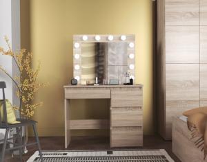 Toaletný stolík s osvetlením HOLLYWOOD PRO dub