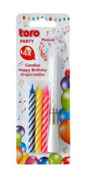 """TORO Spievajúca tortová sviečka """"Happy Birthday"""" + 4 sviečky"""