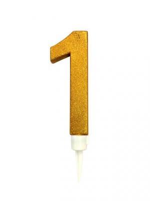 TORO Tortová sviečka číslica 1 Toro zapichovacia 16 cm, zlatá