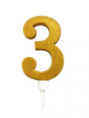 TORO Tortová sviečka číslica 3 Toro zapichovacia 16 cm, zlatá