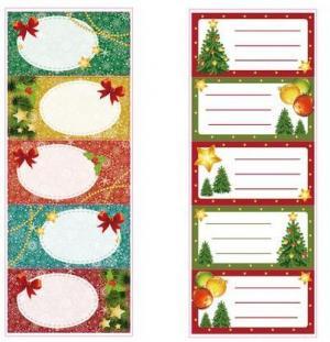 TORO Vianočné menovky na darčeky TORO 5 samolepiek MIX