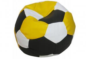 Tříbarevný sedací vak Fotbalový MÍČ XXL Vzor: 34 ČERNO ŽLUTO BÍLÁ