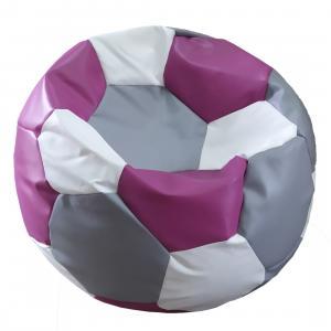 Tříbarevný sedací vak Fotbalový MÍČ XXL Vzor: 36 ŠEDO RŮŽOVO BÍLÁ