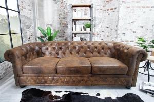 Trojsedačka Chesterfield Vintage hnedá