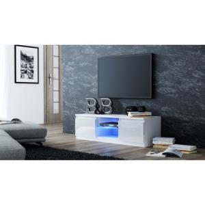 TV stolík LCD glass 120 cm biela lesklá