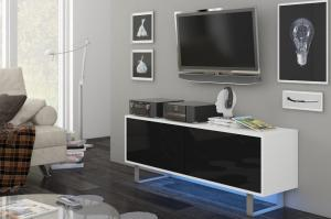 TV stolík/skrinka King 1 (biela + lesk čierny)