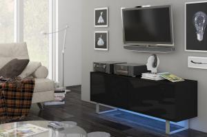TV stolík/skrinka King 1 (čierna + lesk čierny)