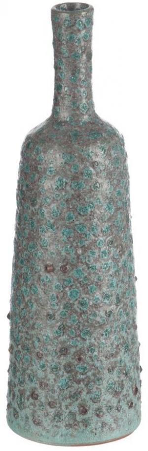 Tyrkysovo - šedá terakotová váza Relief - Ø 9 * 33 cm