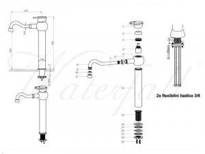 Tyrkysový umyvadlový set s baterií Sole OGB