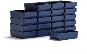 Úložné plastové boxy Detail, 300x188x80 mm, modré, 20 ks
