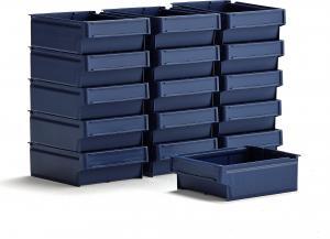 Úložné plastové boxy Detail, 300x230x100, modré, 16 ks
