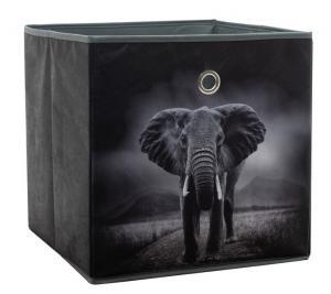 Úložný box Alfa, motív slon v divočine