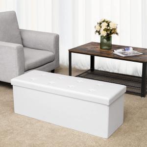 Úložný sedací box čalouněný skládací 110 cm bílý