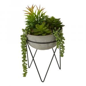 Umelý sukulent v sivom kvetináči Premier Housewares Fiori